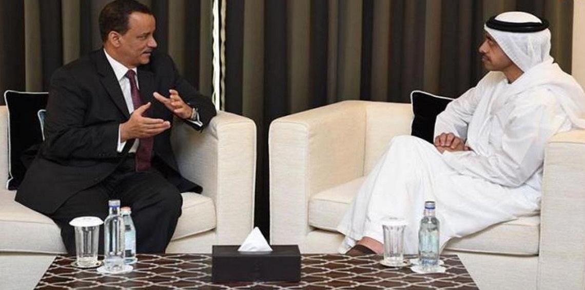 وزير خارجية الإمارات يبحث مع المبعوث الأممي تطورات الأوضاع في اليمن