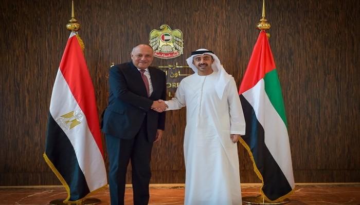عبدالله بن زايد يبحث مع وزير الخارجية المصري التطورات في ليبيا وسوريا