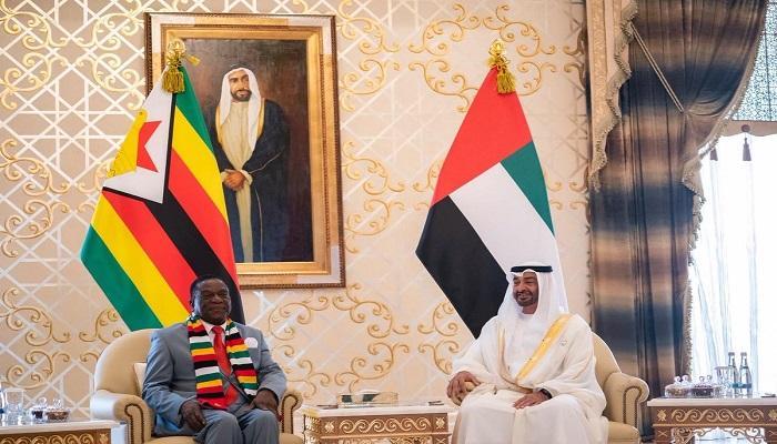 محمد بن زايد يستقبل رئيس زيمبابوي ويبحث معه تعزيز علاقات التعاون
