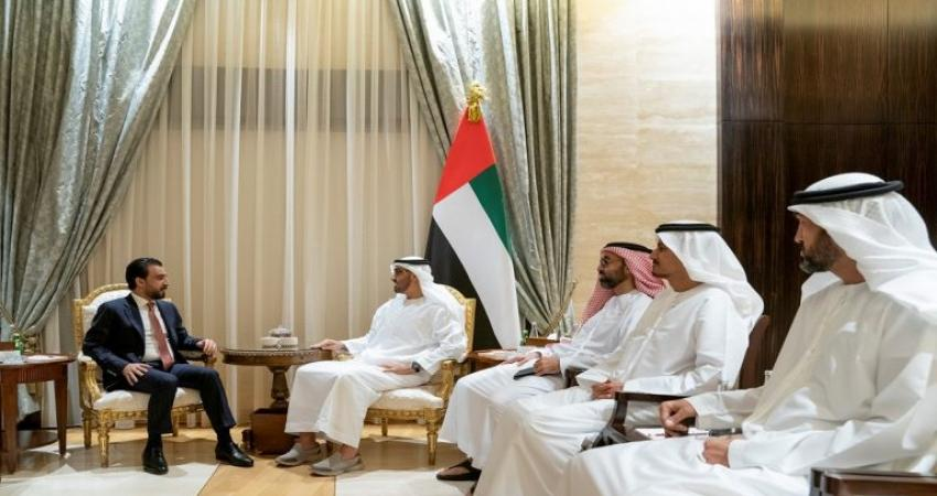 محمد بن زايد يبحث مع رئيس البرلمان العراقي العلاقات بين البلدين